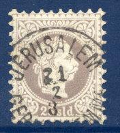 AUSTRIA PO In The LEVANT 1875 Franz Joseph Fine Print 25 Soldi Used With Certificate. . Michel 6 II - Eastern Austria
