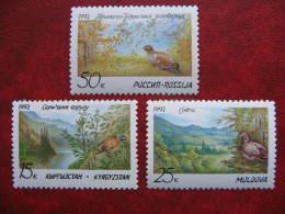 Kyrgyzstan Moldova Russia 1992  Nature Reserve.  Birds.  3 St. MNH - Natuur