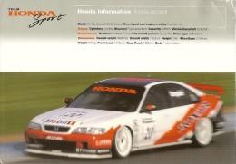 BTCC 1997Plaquette Honda Sport Tarquini-Thompson Pli Coin Droit - Automobile - F1