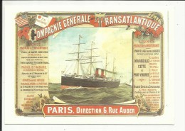 Compagnie Générale Transatlantique , ( CPM ) Reproduction D'une Affiche - Ships