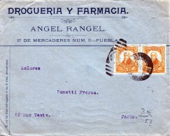 MEXICO 1912 - 2 X 5 Centavos Zusammenhängend Auf Geschäftsbrief Mexico D.F. > Paris - Mexiko