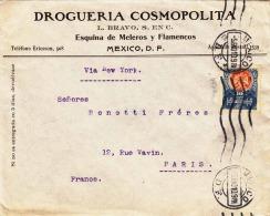 MEXICO 1910 - 10 Centavos Auf Geschäftsbrief Von Mexico D.F. > Paris - Mexiko