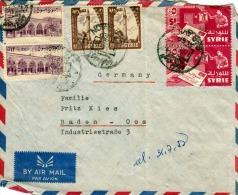 SYRIEN 1957 - 6 Fach Frankierung Auf LP-Brief Von Aleppo > Baden Germany - Syrien