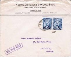 MEXICO 1917 - 2 X 10 Centavos Auf Geschäftsbrief Von Tambico Mexico > New York > Paris - Mexiko