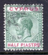 CYPRUS - 1912 1/2 PIASTRE KING GEORGE V1 DEFINITIVE STAMP USED SG75 - Cyprus (...-1960)