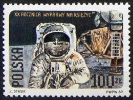POLAND 1989 20TH ANNIVERSARY OF APOLLO 11 FIRST MOON LANDING - MAN ON MOON NHM Space Cosmos USA Eagle - Space