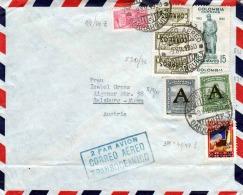 COLUMBIEN 1950 - 8 Fach Frankierung Auf Brief Mit Schiffstransport Von Baranquilla Colombia > Salzburg Aigen - Colombia