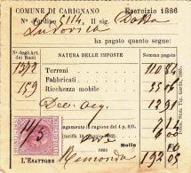 ITALIEN 1886 - Cent Mi? Cinque Marca Da Bollo, Frankierung Auf Kleinen Beleg (Rechnung?) - Italien