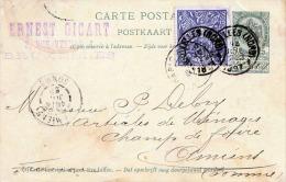 BELGIEN 1897 - 5c Ganzsache + ? Zusatzfrankierung Auf Postkarte, 4 Stempel (Amiens, Bruxelles) - 1893-1907 Wappen