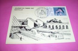 LA NOUVELLE GARE DE MONTPELLIER  ° JOURNEE DU TIMBRE LE 27 03 1982 - Stations With Trains