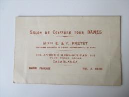 Alte Visitenkarte. Salon De Coiffure Pour Dames. E.&Y. Pretet. 101, Avenue Mers-Sultan. Casablanca - Visitekaartjes