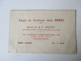 Alte Visitenkarte. Salon De Coiffure Pour Dames. E.&Y. Pretet. 101, Avenue Mers-Sultan. Casablanca - Visitenkarten