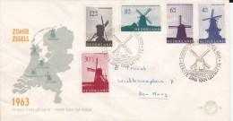 NEDERLAND - 1963 - SERIE COMPLETE YVERT N°769/773 Sur ENVELOPPE FDC De S´GRAVENHAGUE - MOULINS - FDC