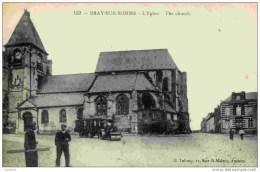 80-BRAY-sur-SOMME- L´Eglise-(Rouleau  Compresseur Et Roulotte) - Bray Sur Somme