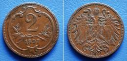 AUSTRIA  2 Heller 1897 RULER:  FRANZ JOSEPH - Oostenrijk