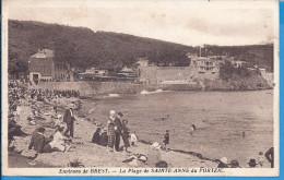 """-- 29 -- LA PLAGE DE SAINT ANNE DU PORTZIC --  Animation --1939 -- Au Fond  """" RESTAURANT DE LA PLAGE """" - Brest"""