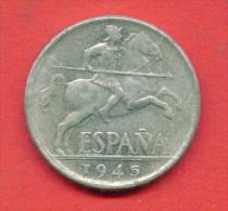 F3869 / - 10 Centimos - 1945 - Spain Espana Spanien Espagne - Coins Munzen Monnaies Monete - [ 4] 1939-1947 : Nationalist Government