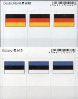 In Farbe 2x3 Flaggen-Sticker Estland+BRD 4€ Kennzeichnung An Alben Karten Sammlungen LINDNER 630+645 Flags Eesti Germany - Télécartes