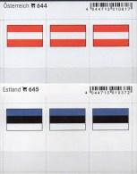 In Farbe 2x3 Flaggen-Sticker Österreich+Estland 4€ Kennzeichnung Alben Karte Sammlung LINDNER 644+645 Flag Austria Eesti - Télécartes