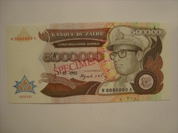 Zaïre -  5 000 000 Zaïres SPECIMEN- 1-10-1992- N°N0000000A - état Neuf Non Circulé - P 46 S- Ref 281 - Zaire