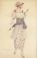 $3- 3028- Illustratore Bompard - Ragazza Liberty - F.p. Non Viaggiata - Bompard, S.