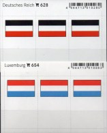 In Farbe 2x3 Flaggen-Sticker 3.Reich+Luxemburg 4€ Kennzeichnung Alben Karten Sammlungen LINDNER 628+654 Flag Germany Lux - Télécartes