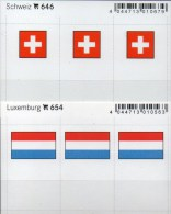 In Farbe 2x3 Flaggen-Sticker Schweiz+Luxemburg 4€ Kennzeichnung Alben Karten Sammlung LINDNER 646+654 Flags Lux Helvetia - Telefoonkaarten