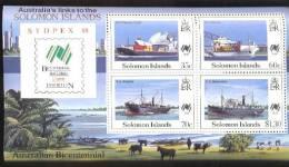 SOLOMON ISLANDS   621 A MINT NEVER HINGED MINI SHEET OF SHIPS ; AUSTRALIAN BICENTENIAL - Schiffe