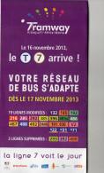 PLAN  RATP  TRAMWAY T7  Villejuif/Athis-Mons/Villejuif  Novembre 2013 - Europe