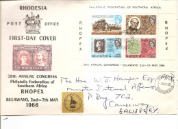 Timbres Sur Timbres ( FDC De Rhodésie De 1966 Avec BF 1 Voyagé Vers La Grande-Bretagne à Voir) - Stamps On Stamps