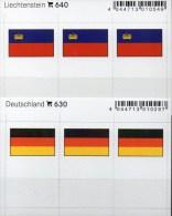 In Farbe 2x3 Flaggen-Sticker BRD+Liechtenstein 4€ Kennzeichnung Alben Karten Sammlungen LINDNER 630+640 Flags Germany FL - Telefonkarten