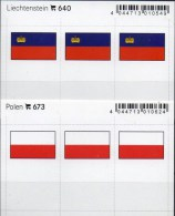In Farbe 2x3 Flaggen-Sticker Liechtenstein+Polen 4€ Kennzeichnung Alben Karten Sammlungen LINDNER 673+640 Flag Polska FL - Télécartes