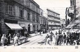 TUNIS - La Rue Al-Djazira Et L'Hotel De Paris, Gel.1915 - Tunisia