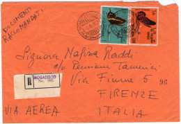 SOMALIA/SOMALIE -1962 REGISTERED AIR MAIL COVER TO ITALY / THEMATIC STAMPS-BUTTERFLIES - Somalia (1960-...)