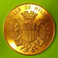 1897 Millau Magnifique Médaille Bronze Doré Exposition Industrielle Et Artistique Armoiries Diamètre 5 Cms 60 Grammes - France