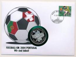 SUISSE / LIBERIA - Pièce De 5 Dollars Sous Blister SWISS FOOTBALL TEAM PORTUGAL EURO 2004 / Enveloppe Suisse BASEL 1 - Liberia