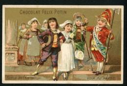 Chocolat Félix Potin, Jolie Chromo Lith. Champenois, Jeunes Gens, Thème Mariage, Noce, Sortie De L'église - Félix Potin