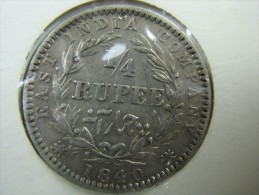 BRITISH  INDIA 1/4 QUARTER RUPEE SILVER COIN 1840  SHARP DETAILS   NICE GRADE SEE PICTURES  LOT 16 NUM 8 - Indien