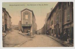 CPA 42 Loire Bourg Argental Rue Nationale Et Rue Du Rhône 1920 Colorisée Très Bon état. - Bourg Argental