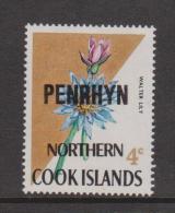 Penrhyn Island 1973 Definitive Overprints 4c Walter Lily Variety MNH - Penrhyn