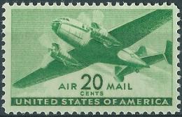 U.S. Airmail. 1941. Scott.N°C29. Twin-Motored Transport Plane & Bi-moteur. Neuf, MNH (**) - 2b. 1941-1960 Unused