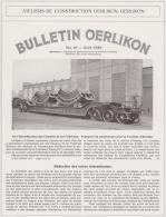 Bulletin Oerlikon - 1922 - Transport De Générateurs Pour La Centrale D'Amsteg - Sin Clasificación