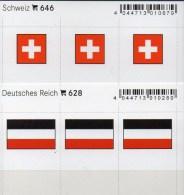 2x3 In Farbe Flaggen-Sticker Schweiz+Reich 4€ Kennzeichnung Alben Karten Sammlung LINDNER 646+628 Flags Helvetia Germany - Fotografía