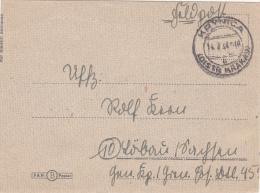 Feldpost WW2:  To Grenadier Ersatz Bataillon 45 Dated Krynica (Distr. Krakau) 14.7.1944 - Letter Inside (G50-55) - Militaria