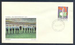 Football Soccer FIFA World Cup Uruguay Cover 1974 Campeonato Mundial De Futbol; Team Label; Football WC 1974 Stamp - Coppa Del Mondo