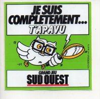 REF 6  : Autocollant Publicitaire  Chouette Grand Jeu Sud Ouest Presse - Autocollants