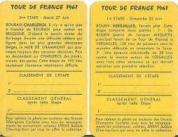 Tour De France 1961 2 Petites Cartes Etapes - Wielrennen