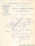 87 608 SAINT YRIEIX HAUTE VIENNE 1936 Epicerie de Paris Mr HENRI CHATARD Place du march� - CONSERVERIE AMIEUX FRERES
