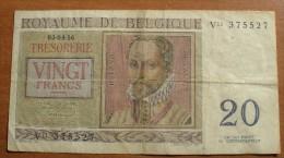 1956 - Belgique - Belgium - 20 FRANCS, 03-04-56, Légendes Belgique - Belgie - [ 6] Schatzamt