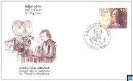 Sri Lanka Stamps 2013, Dr. Tissa Abeysekara, Cinema, Camera, FDC - Sri Lanka (Ceylon) (1948-...)